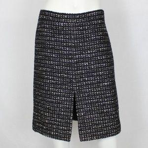 J.Crew Black Tweed Metallic Skirt A-Line Slit